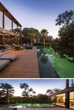 This swimming pool has a large wooden deck with various places to relax. Small Outdoor Spaces, Outdoor Rooms, Outdoor Living, Outdoor Decor, Swimming Pool Enclosures, Swimming Pools, Pool Decks, Small Lounge Rooms, Hidden Lighting
