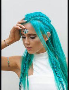Dj tigerlily blue hair intricate braids