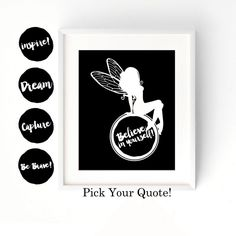 Pick Your Quote - Inspirational Fairy Quote | Girls Room Decor | Wall Art | Cotton Print | Cardstock Print | Quote Wall Art