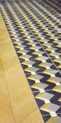 Carreaux de ciment décor cube géométrique noir jaune gris et blanc 20x20 cm…