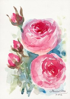 Rose, Original Art WATERCOLOR FLOWER PAINTING on cotton art paper. 14.8x21 cm.