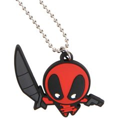 Marvel Deadpool Kawaii Necklace ($4.87) ❤ liked on Polyvore featuring jewelry, necklaces, black, beading charms, beading jewelry, rubber jewelry, charm jewelry and rubber necklace