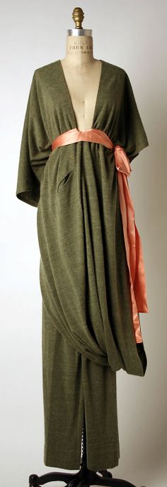 Ensemble (olive angora dress, with apricot silk sash, worn over olive angora pants), by Madame Grès (Alix Barton), French, ca. 1975.