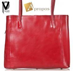 Vera Pelle Shopper 40cm Kalbsleder Henkeltasche Handtasche Braun Rot Apropos