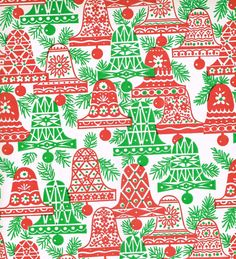 vintage christmas wrapping paper | Vintage 1960s Christmas Wrapping Paper Bells by FiveOaksFarms
