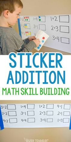 Dot Sticker Addition: A Fun Math Activity - Busy Toddler - - Is your child learning addition skills? Check out this dot sticker addition activity from Busy Toddler. A kindergarten math activity that's quick & easy! Addition Activities, Kindergarten Math Activities, Toddler Learning Activities, Math Addition, Homeschool Math, First Grade Addition, Summer School Activities, Kindergarten Addition, Online Homeschooling