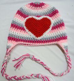 Crochet Striped Heart Earflap Hat