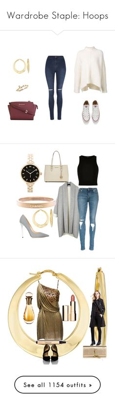 """""""Wardrobe Staple: Hoops"""" by rosssimons ❤ liked on Polyvore featuring URBAN ZEN, George, Converse, MICHAEL Michael Kors, Ross-Simons, beauty, Marc by Marc Jacobs, Jimmy Choo, River Island and Chanel"""
