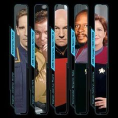Star Trek Captains - Archer, Kirk, Picard, Sisko and Janeway (we'll overlook the fact that Sisko wasn't actually a Captain!)