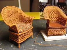 "I love to weave. I have made full-sized baskets to miniature baskets. I think it's relaxing to weave. Weaving miniature furniture is a great ""take it with you"" project. Once you have your wires glu"