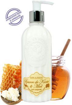 Lait hydratant Beurre de Karité & Miel - Fabriqué à base de beurre de karité reconnu pour ses propriétés hydratantes. Ce lait hydratant parfume tout en douceur la peau d'un délicat parfum de miel de Provence. Il procure douceur et bien-être.