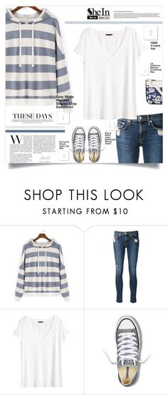"""""""Shein Grey Sweater"""" by tawnee-tnt ❤ liked on Polyvore featuring rag & bone/JEAN, H&M, Converse and Liz Claiborne"""