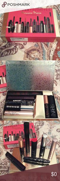 AUTHENTIC 7 PIECE MASCARA SEPHORA  ALL NEVER USED! This set was listed awhile back i became ill and discontinued being on  Posh my daughter tried to  take over until returned but alot of things got mixed up So now i am reposting Please i am not over priced if u dislike are feel i am with my price please no smart comments are feed back move on if u seen for less go purchase their Posh does take a percentage Thank u there is BUXOM,NARS,TOO FACED BETTER THAN SEX,SEPHORA,ROLLER LASH,VON D,TARTE…