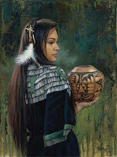 """The Treasured Gift"" -Western and Native American Fine Art by Karen Noles Native American Girls, Native American Pictures, Native American Beauty, American Indian Art, Native American History, American Indians, Native American Cherokee, American Symbols, Native American Paintings"