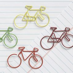 The Bicycle Paper Clips make organization count. These brightly colored clips lend an imaginative touch to a stack of paperwork at home or in the office, while helping you prioritize or with group projects. They also make a whimsical (yet practical) gift for a coworker.  Made from vinyl-coated steel wire. Pack of 4 paper clips. Please allow 2 weeks for shipping.