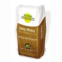Holy Moley Mole Repellent- Twice the active ingredients of other more controls. This all natural product made from castor oil and Fuller's Earth (a natural clay-like substance) effectively repels moles through both scent and taste. The granules are easy to apply with broadcast spreaders, are harmless to pets or humans and are safe for use in gardens and around crops. A 10 pound bag treats 5000 square feet. For best results, apply before rain or water in for 15 minutes.