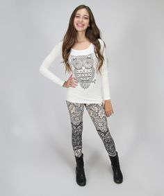 Look at this White & Gray Owl Tunic & Leggings on #zulily today!