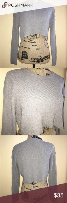 Brandy Melville Cropped Sweater Brandy Melville Cropped grey ribbed Sweater NWT one size Brandy Melville Sweaters Crew & Scoop Necks