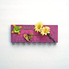 Jewelry organizer - yellow flowers & butterfly - repurposed from scrap wood