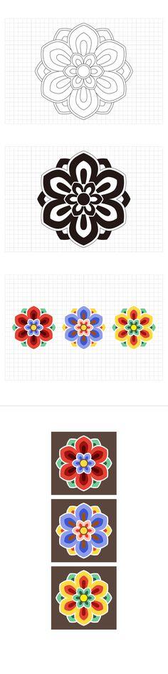 Korean Traditional Pattern Design [단청] on Behance Korean Traditional, Traditional Design, Traditional Wedding, Motif Design, Pattern Design, Design Art, Korean Crafts, Korean Illustration, Korean Tattoos