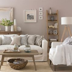Neutral living room with ladder shelf | Living room storage ideas | PHOTO GALLERY | Housetohome.co.uk