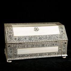 - Vizagapatam ivory veneered miniature bureau