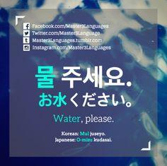 'Water, please.' - Survival Korean & Japanese Phrase >> Master3Languages - Korean, Japanese, English