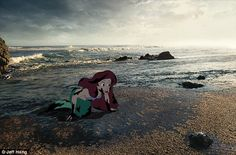 Nightmarish: New York-based animation artist Jeff Hong, 35, has imagined Disney characters battling the grim conditions of the real world - here Ariel from The Little Mermaid appears washed up on a beach covered in oil