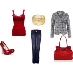 Red tank with black/grey detailed jacket, red shoes and gold bangle. Smart Casual Evening Outfits, Gold Bangles, Red Shoes, Woods, Black And Grey, Style Inspiration, Fashion Outfits, My Style, Makeup