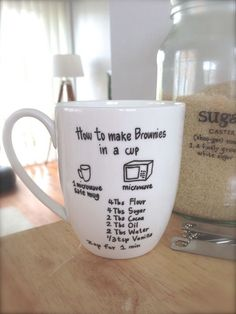 DIY recipe mug ~ get a blank mug and draw a recipe for hot drink or this brownie idea. To make the sharpie stay you just bake it!