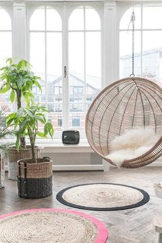 hanging bubble chair in the living room, rattan furniture ideas