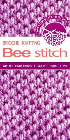 Bee Brioche is one of our very favorite stitches. This pattern uses the knit one below stitch to create an interesting textured fabric. Loom Knitting Stitches, Dishcloth Knitting Patterns, Knit Dishcloth, Crochet Stitches Patterns, Easy Knitting, Stitch Patterns, Knitting Ideas, Lana, Knitting