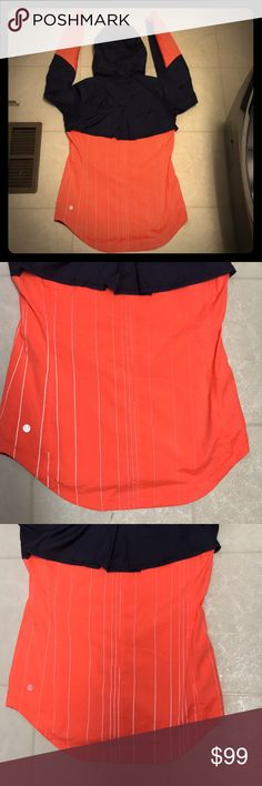 Lululemon Get Up and Glow Jacket Beautiful Lululemon Get Up and Glow rain jacket with lots of reflective lines. Bright orange and navy color. Excellent preowned condition. Size 6 lululemon athletica Jackets & Coats