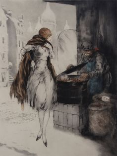 louis icart, Chestnut Vendor, 1928