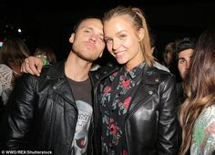 Still going: Singer Alexander DeLeon and Victoria's Secret angel girlfriend Josephine Skriver looked as loved up as ever