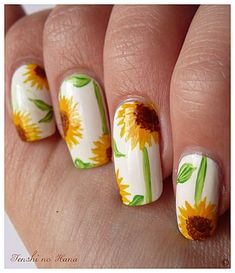 Dark green background, white sunflowers, light green stems & leaves... Sunflower Nail art design