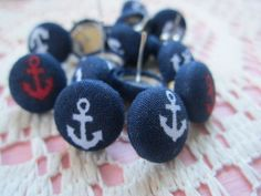 NAUTICAL ANCHOR patterned Vintage Style Fabric Button Earrings-12mm Post. $3.00, via Etsy.
