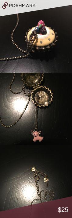 Betsey Johnson cupcake pig necklace EUC cupcake with pig inside betsey Johnson necklaces Rare! Betsey Johnson Jewelry Necklaces