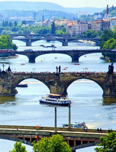 czech republic-Awesome View Of Vltava River, Prague Budapest, Places To Travel, Places To See, Prague Travel, Prague Czech Republic, Spain Travel, Travel Europe, Vacation Trips, Travel Around The World