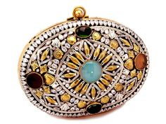 Voguish golden color brass metal clutch purse studded with multicolor stones and shiny diamantes. Item Code: SJBP2023   http://www.bharatplaza.com/new-arrivals/accessories.html