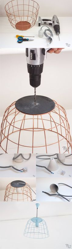 Fruit Bowl into a DIY Wireframe Pendant Light - one-o.it - Lámpara DIY con una cesta