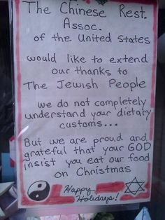 Chinese restaurants are open on Christmas so Jewish people can eat out & watch movies Jewish Christmas, Open On Christmas, Merry Christmas, Christmas Ideas, Christmas Humor, Restaurant Signs, Chinese Restaurant, Jewish Humor, Jewish Food