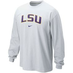 Nike LSU Tigers Classic Arch Long Sleeve T-Shirt - White. Large $28