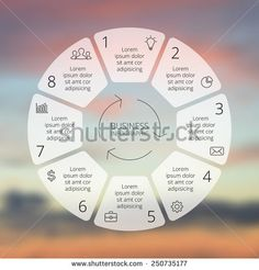 Circle line infographic. Template for cycle diagram, graph, presentation and round chart. Business concept with 8 options, parts, steps or processes. Linear graphic. Blur vector background. - Shutterstock Premier