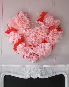 paper flower heart from the sock hop in Martha Stewart Living Feb Issue.