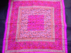 """Hermes scarf CARRE cashmere/silk shawl PM """"CHASSE EN INDE"""" pink #HERMS #135cmx135cmshawl"""