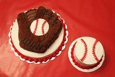 Baseball Glove birthday cake and Baseball smash cake. 12 in round with Wilton Baseball pan cake on top. 6 in round double layer smash cake.