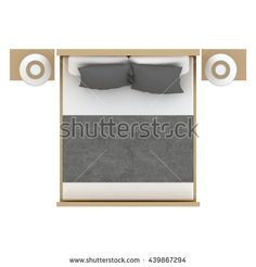 Bed top view 3D illustration. You may find this object with different colors in my portfolio.