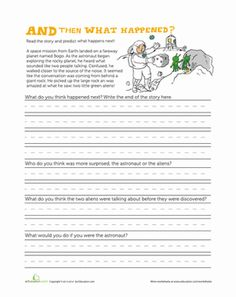 First Grade Comprehension Writing Stories Worksheets: What Will Happen Next?