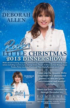 Deborah Allen poster to advertise new Rockin' Little Christmas CD and Christmas Shows at Fontanel 2013.